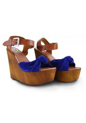 Sandalia Cuña madera Para Mujer Guess Azul Talla 37